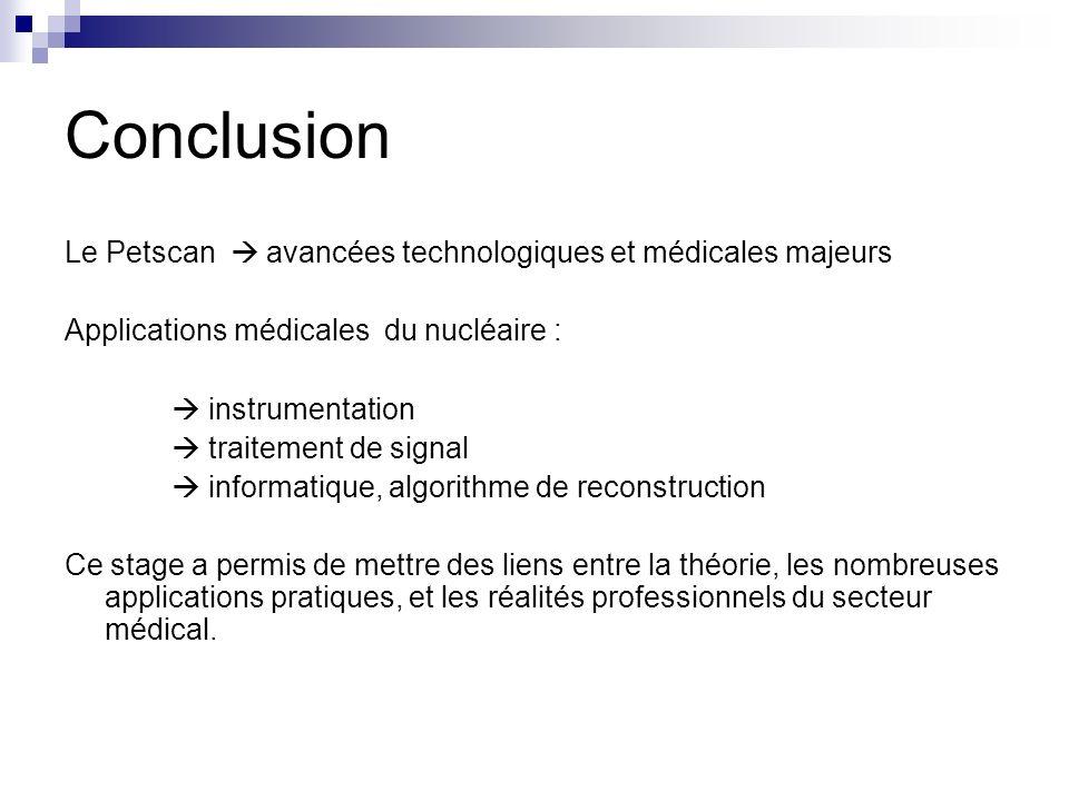 Conclusion Le Petscan  avancées technologiques et médicales majeurs