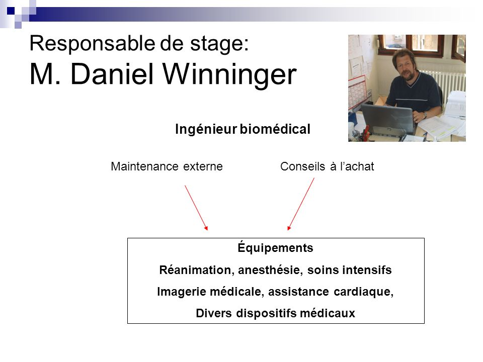Responsable de stage: M. Daniel Winninger