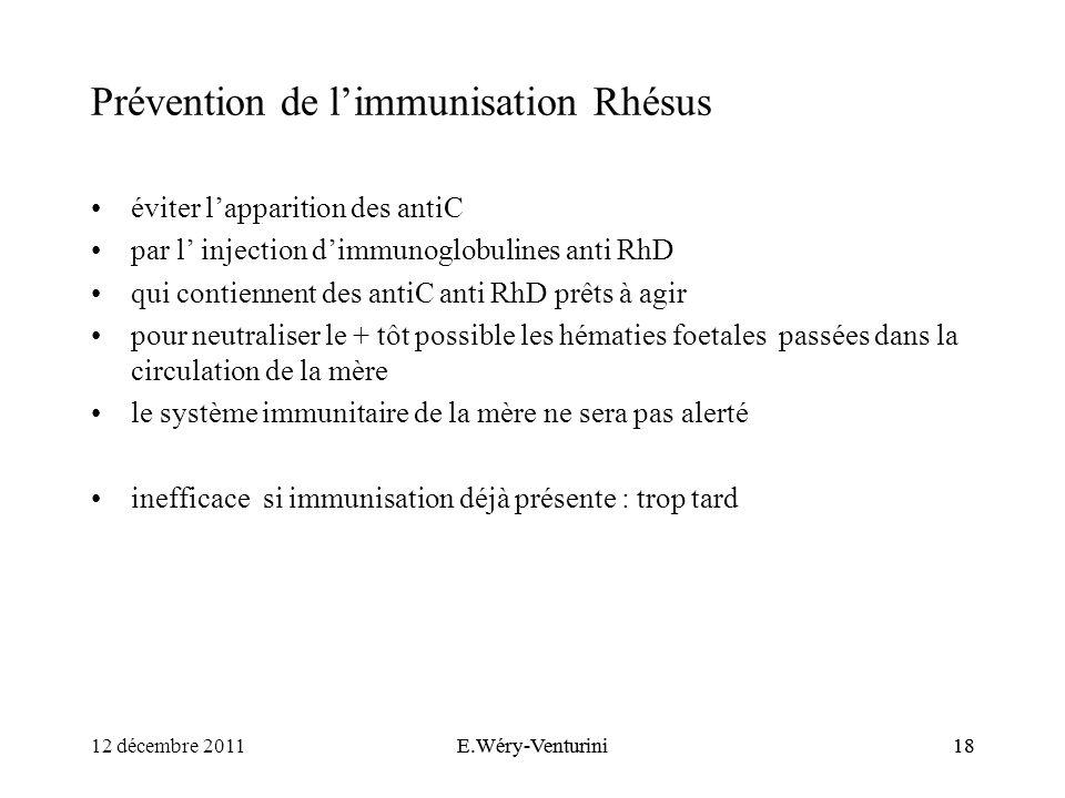 Prévention de l'immunisation Rhésus