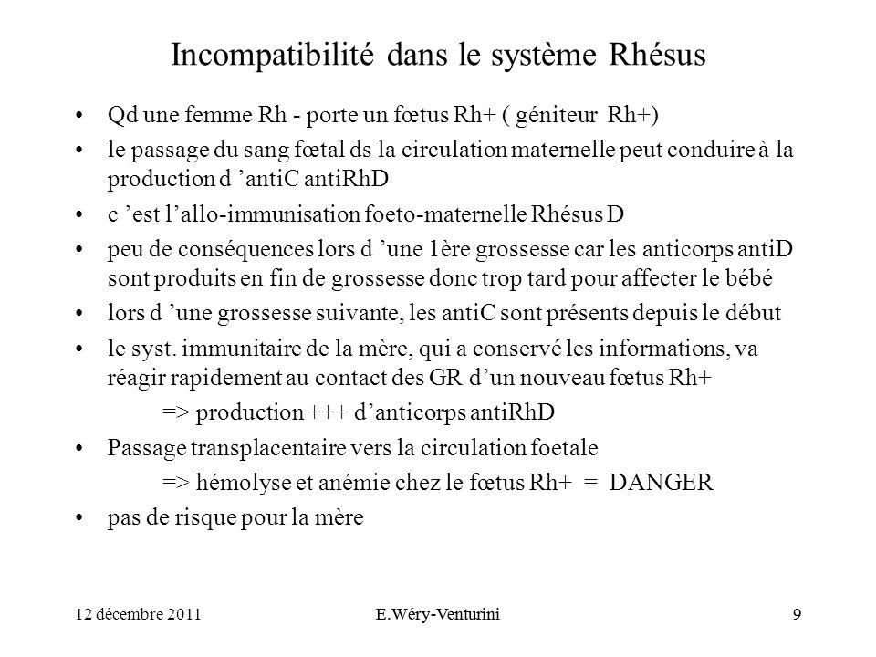 Incompatibilité dans le système Rhésus
