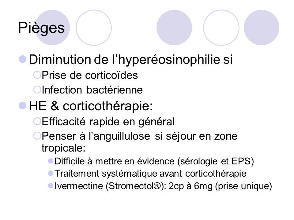 Pièges Diminution de l'hyperéosinophilie si HE & corticothérapie: