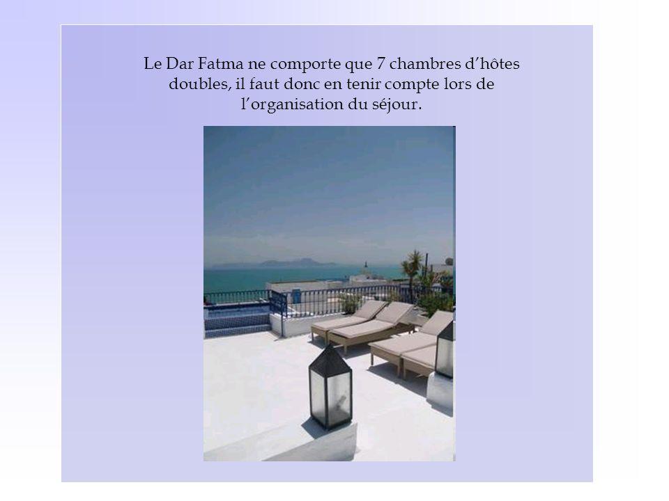 Le Dar Fatma ne comporte que 7 chambres d'hôtes doubles, il faut donc en tenir compte lors de l'organisation du séjour.