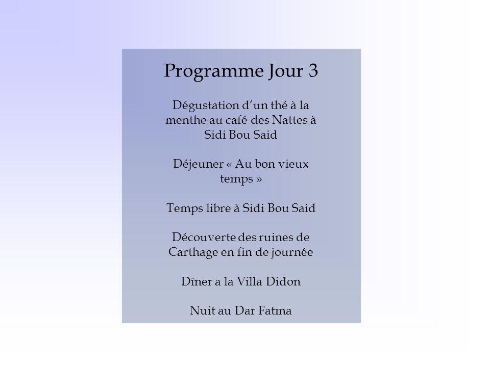 Programme Jour 3 Dégustation d'un thé à la menthe au café des Nattes à Sidi Bou Said. Déjeuner « Au bon vieux temps »