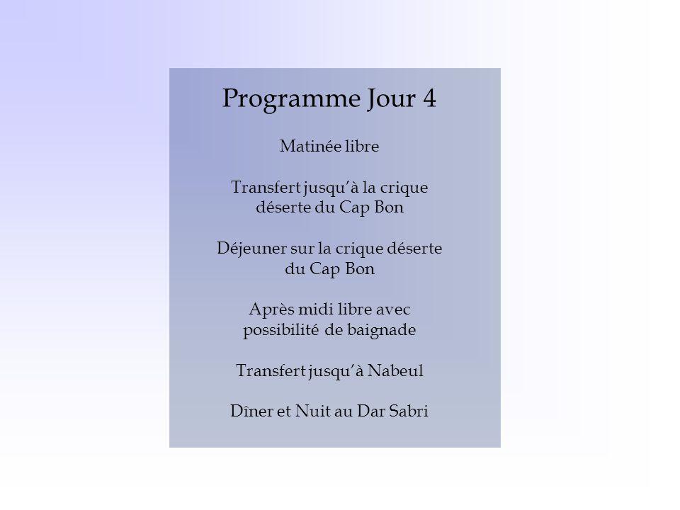 Programme Jour 4 Matinée libre