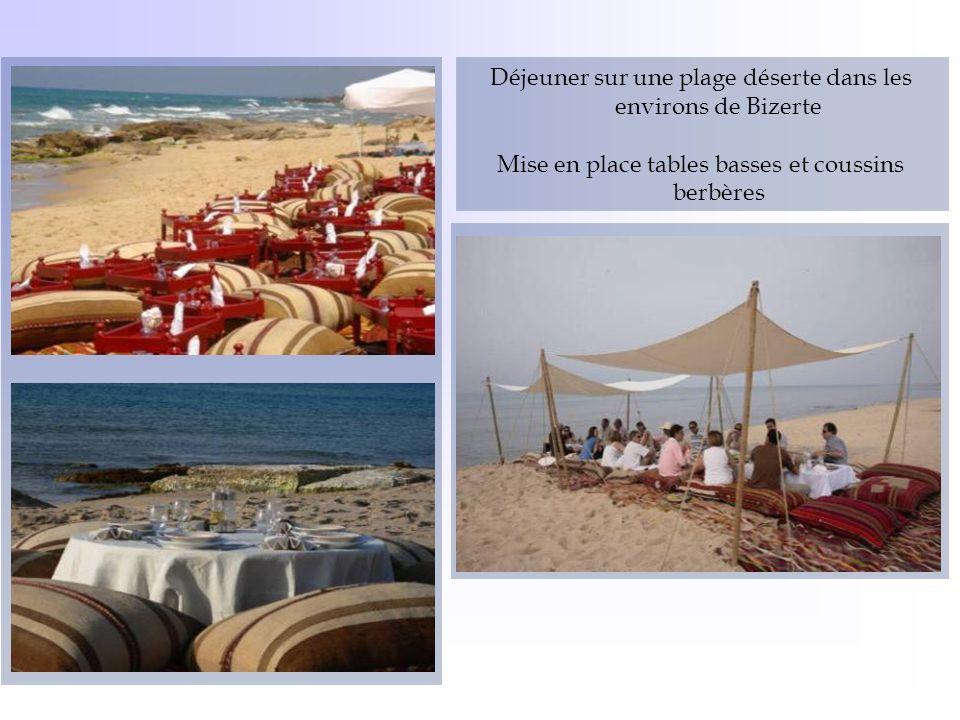 Déjeuner sur une plage déserte dans les environs de Bizerte
