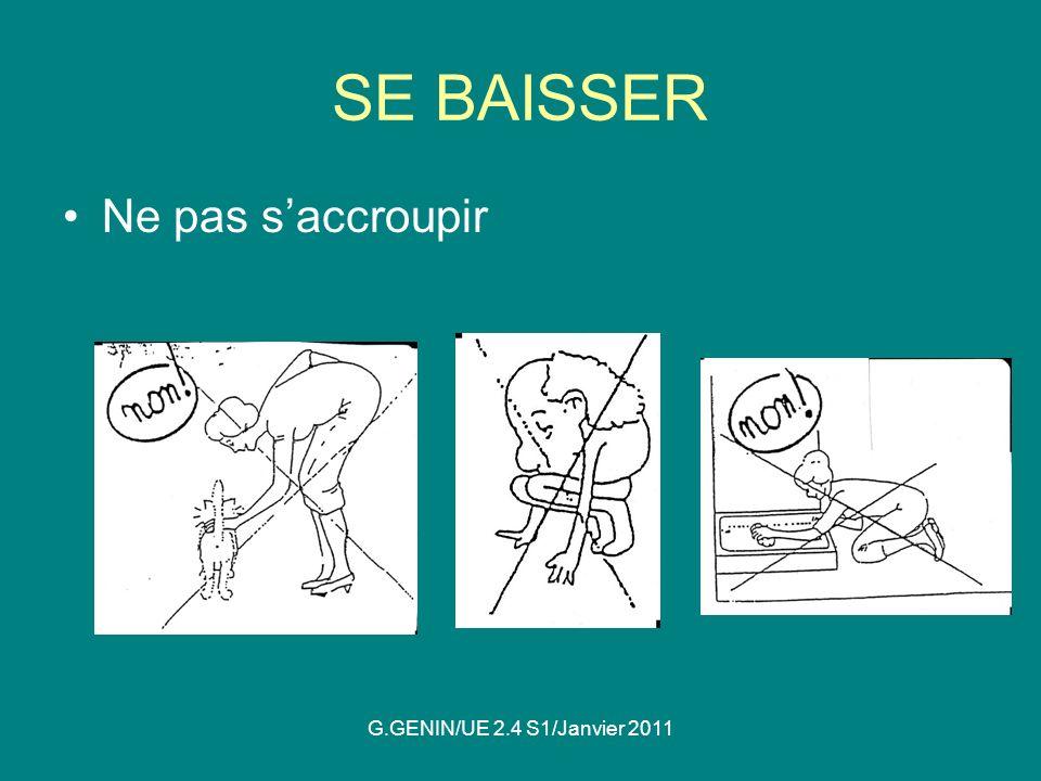 SE BAISSER Ne pas s'accroupir G.GENIN/UE 2.4 S1/Janvier 2011