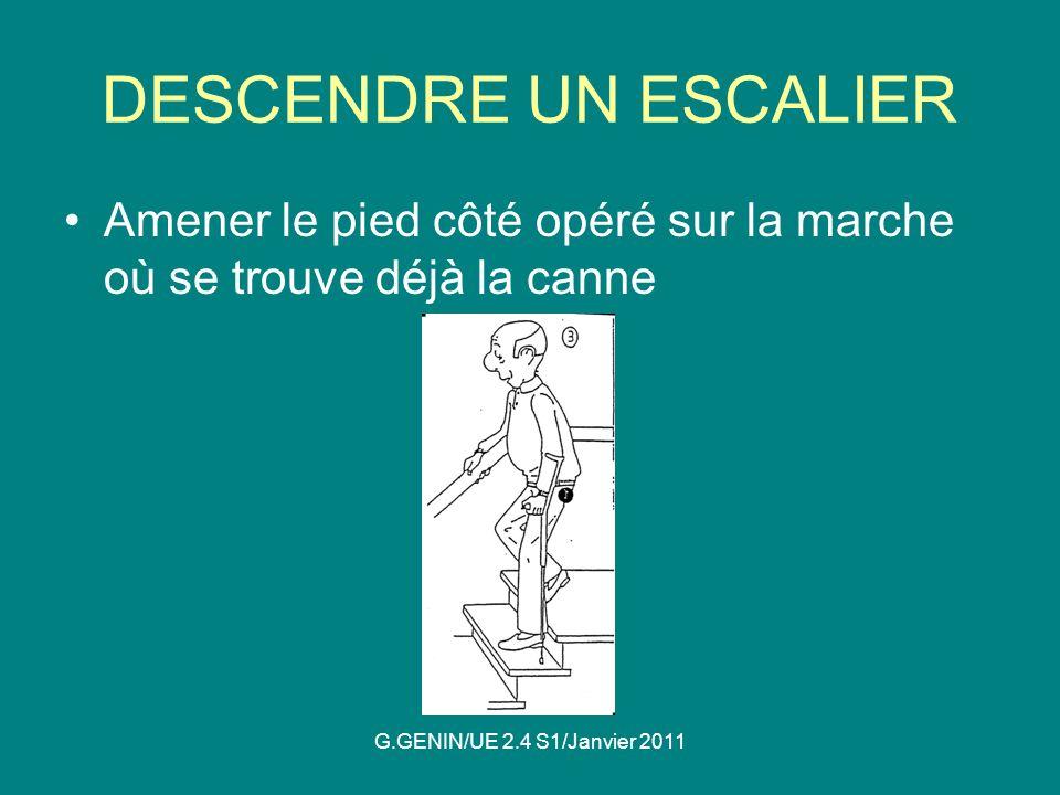 DESCENDRE UN ESCALIER Amener le pied côté opéré sur la marche où se trouve déjà la canne.