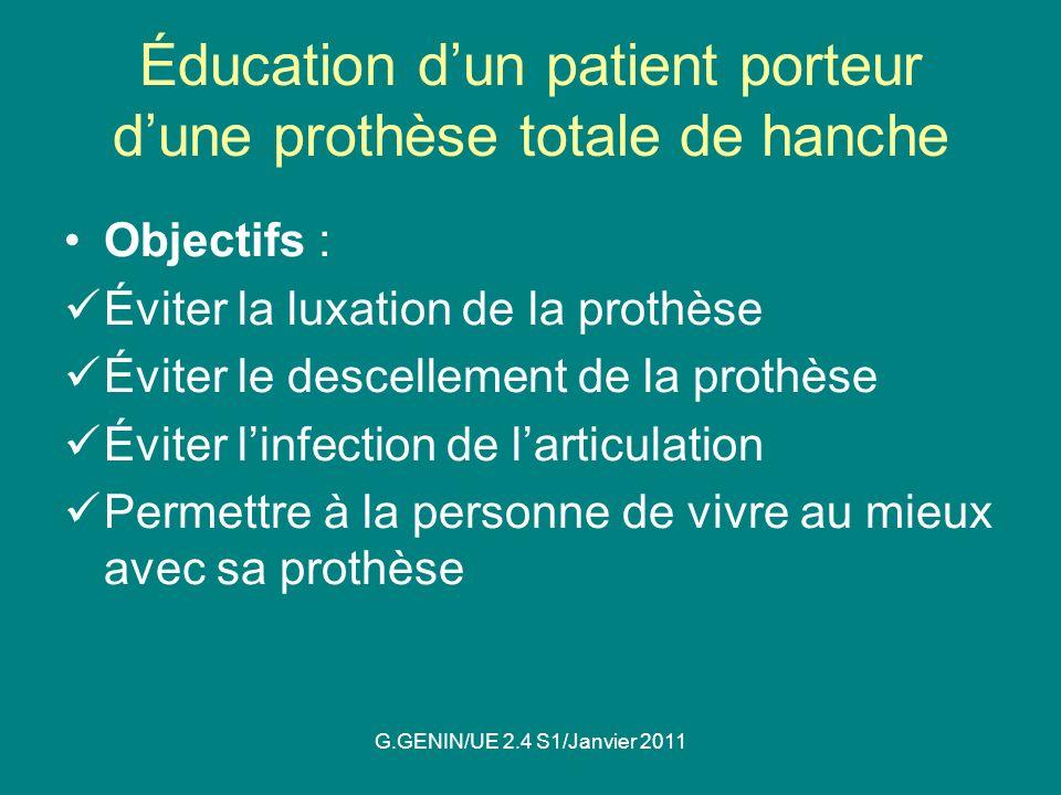 Éducation d'un patient porteur d'une prothèse totale de hanche