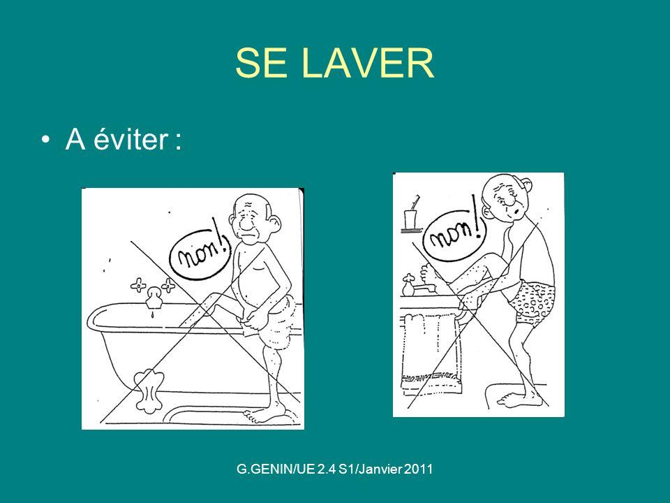 SE LAVER A éviter : G.GENIN/UE 2.4 S1/Janvier 2011