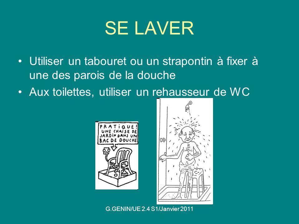 SE LAVER Utiliser un tabouret ou un strapontin à fixer à une des parois de la douche. Aux toilettes, utiliser un rehausseur de WC.