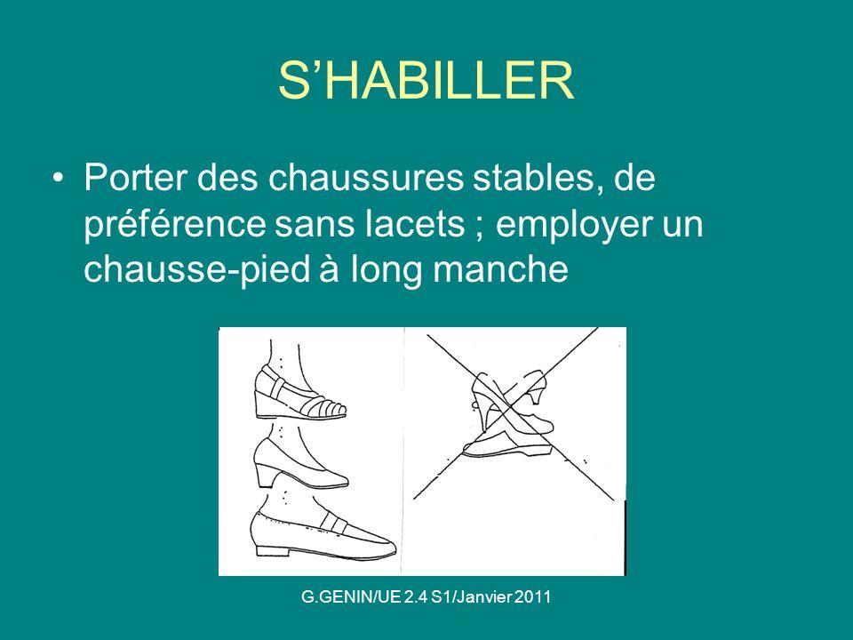 S'HABILLER Porter des chaussures stables, de préférence sans lacets ; employer un chausse-pied à long manche.