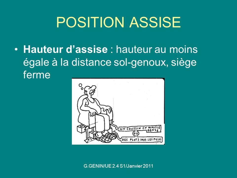 POSITION ASSISE Hauteur d'assise : hauteur au moins égale à la distance sol-genoux, siège ferme.