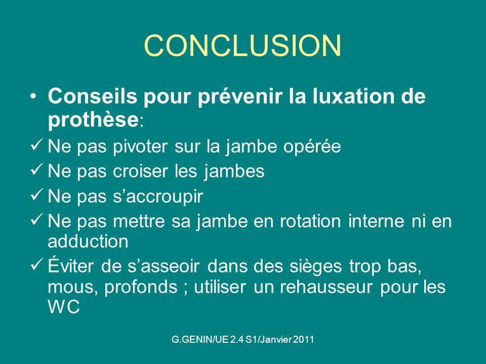 CONCLUSION Conseils pour prévenir la luxation de prothèse: