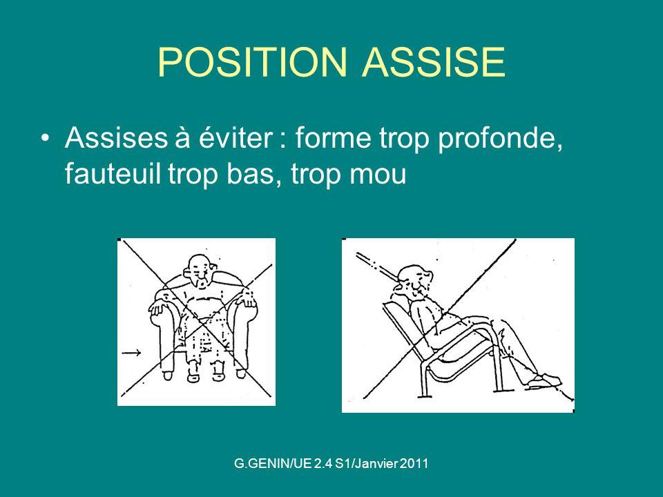 POSITION ASSISE Assises à éviter : forme trop profonde, fauteuil trop bas, trop mou.