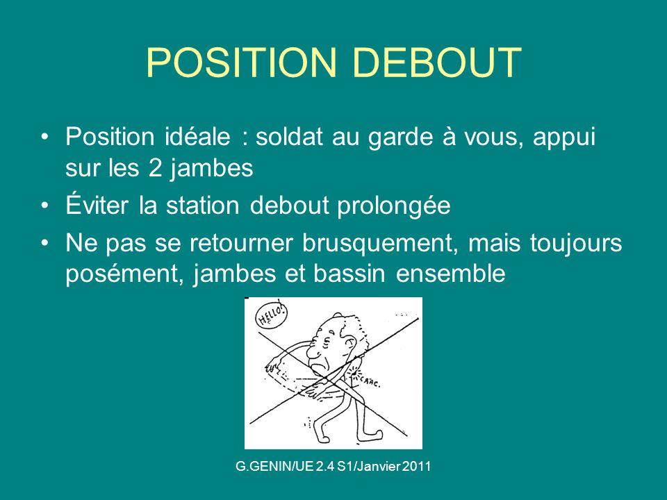 POSITION DEBOUT Position idéale : soldat au garde à vous, appui sur les 2 jambes. Éviter la station debout prolongée.
