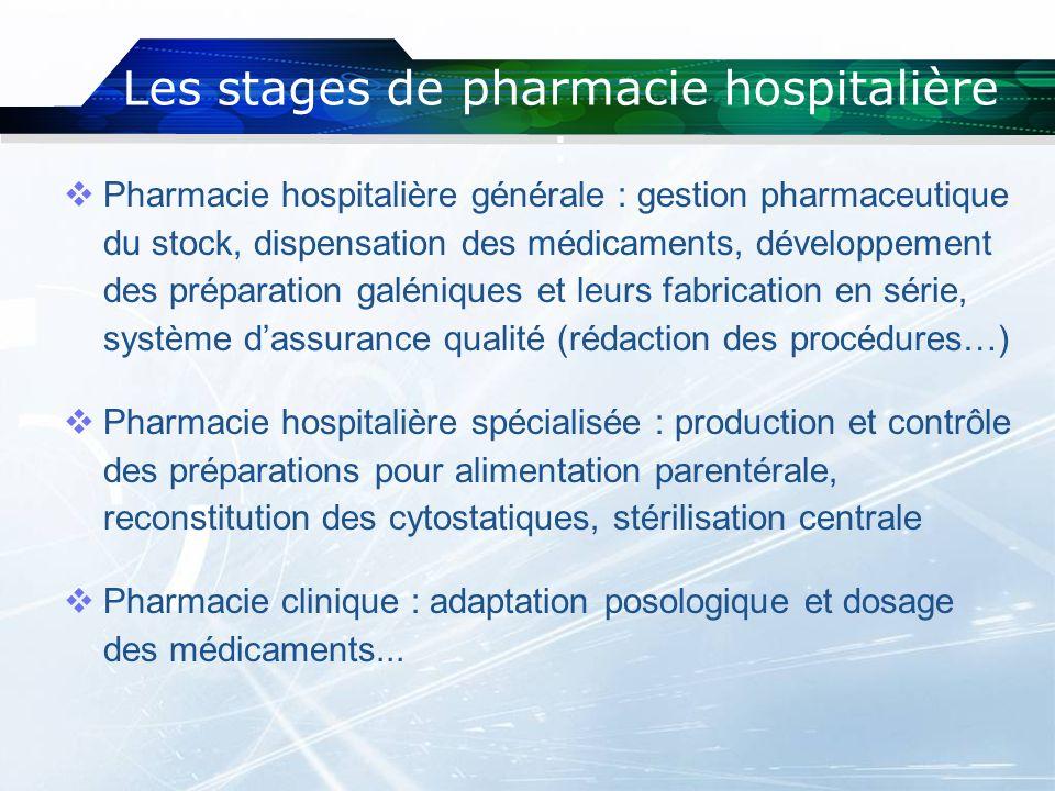 Les stages de pharmacie hospitalière :