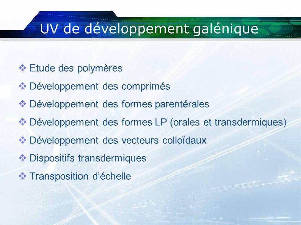 UV de développement galénique