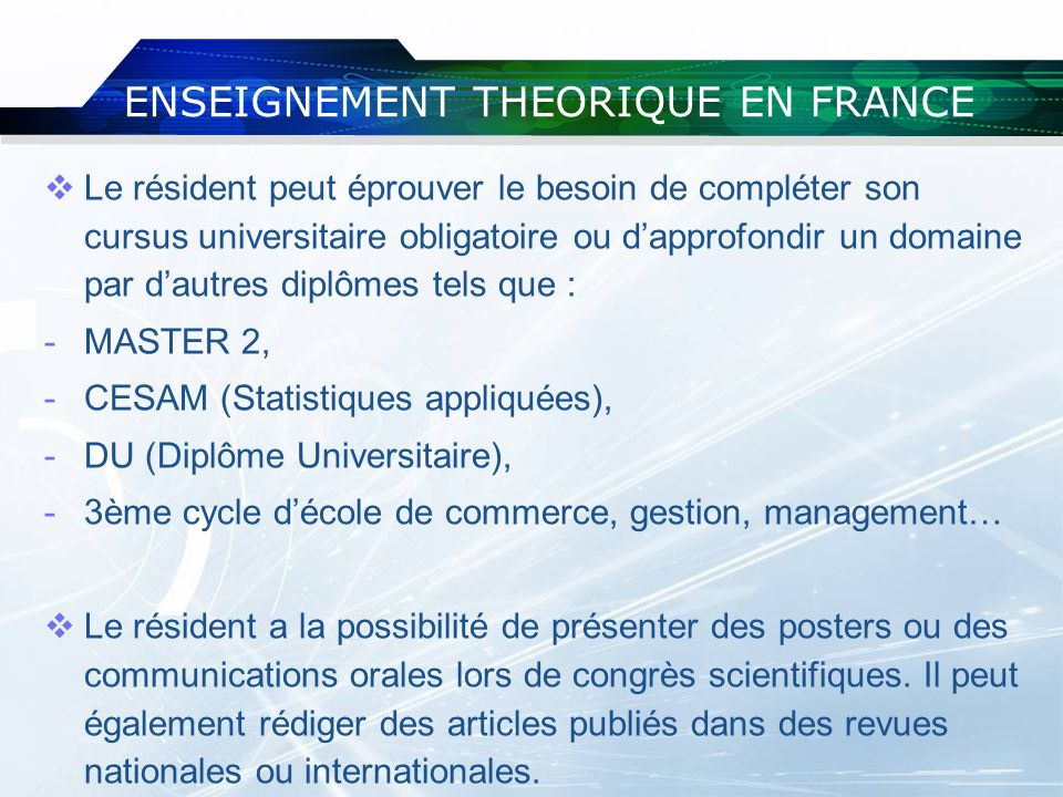ENSEIGNEMENT THEORIQUE EN FRANCE