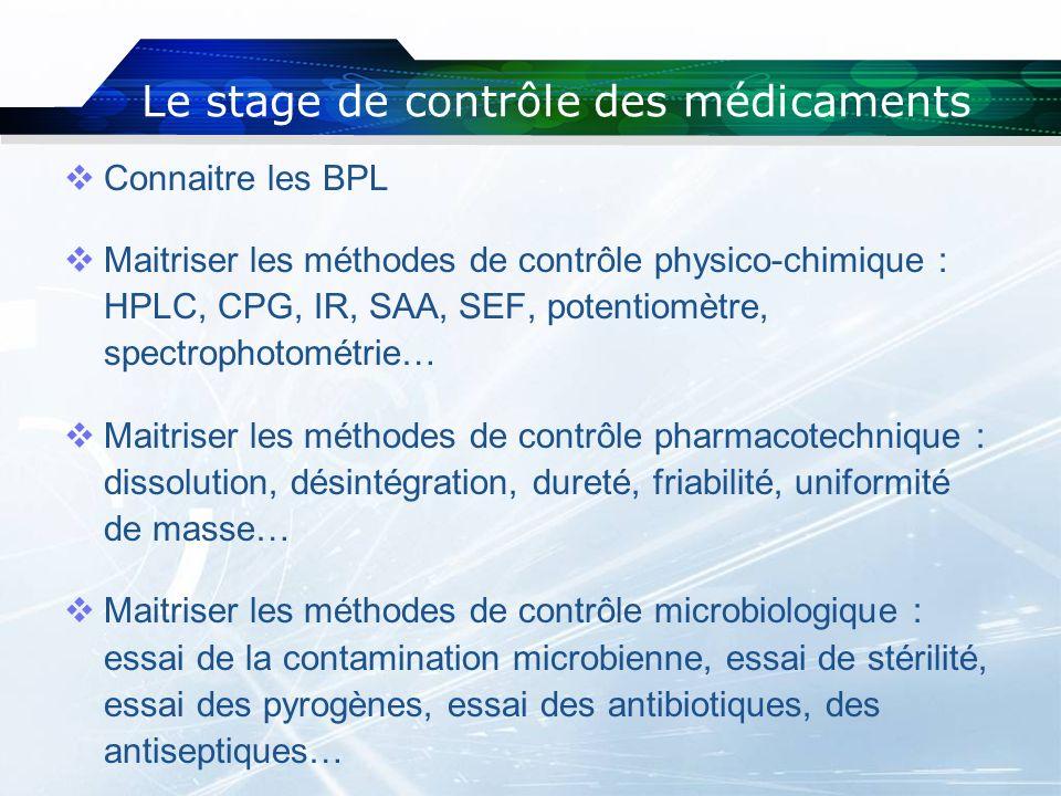 Le stage de contrôle des médicaments