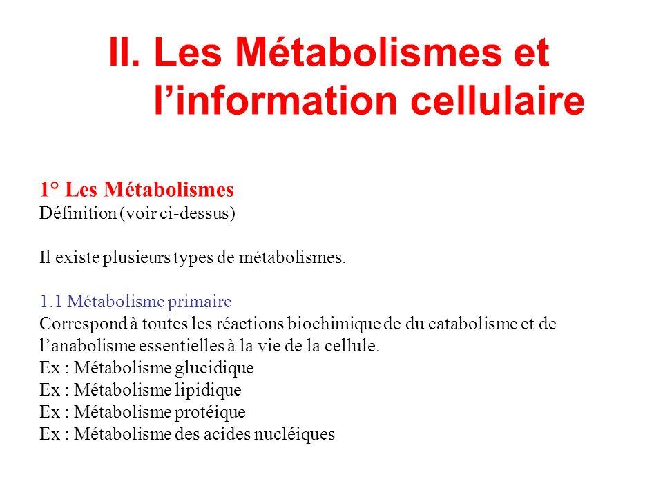 II. Les Métabolismes et l'information cellulaire