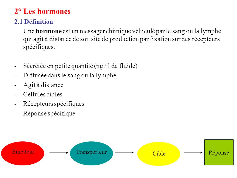 2° Les hormones 2.1 Définition