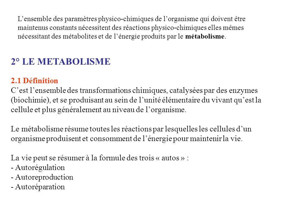 2° LE METABOLISME 2.1 Définition