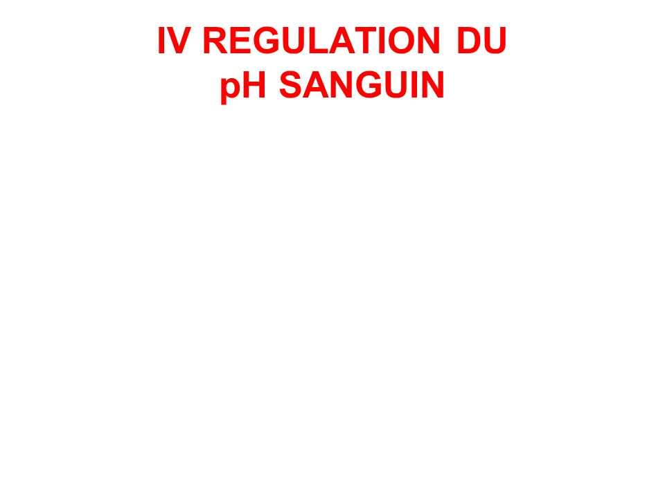 IV REGULATION DU pH SANGUIN