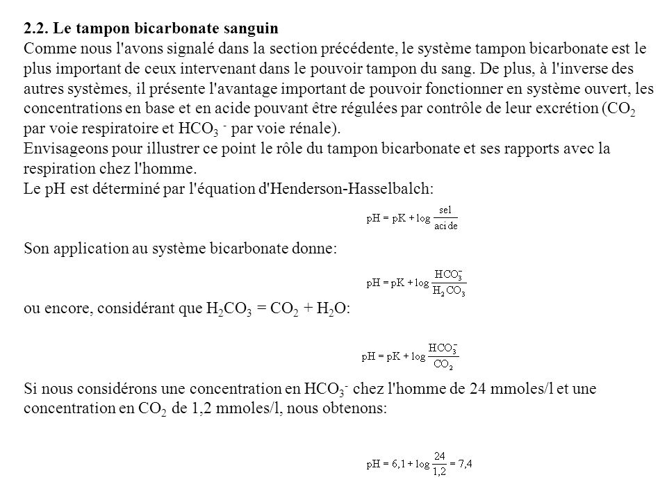 2.2. Le tampon bicarbonate sanguin