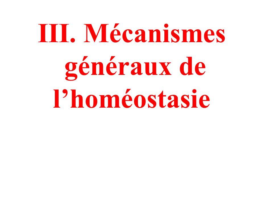 III. Mécanismes généraux de l'homéostasie