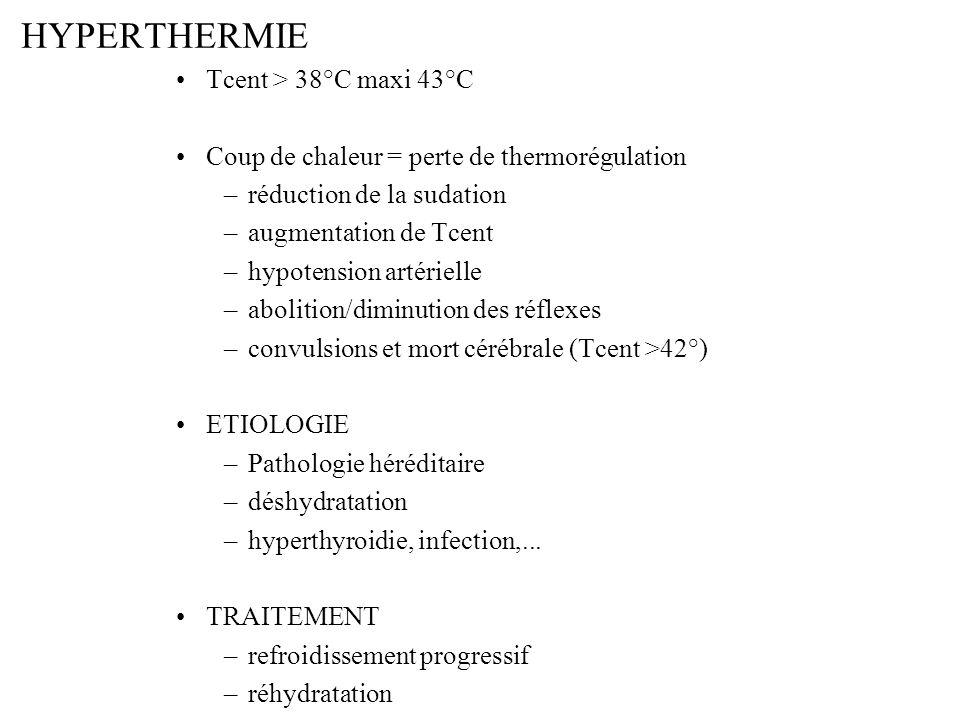 HYPERTHERMIE Tcent > 38°C maxi 43°C