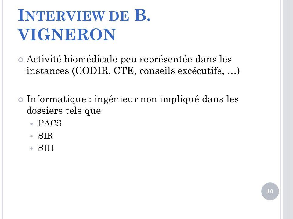 Interview de B. VIGNERON