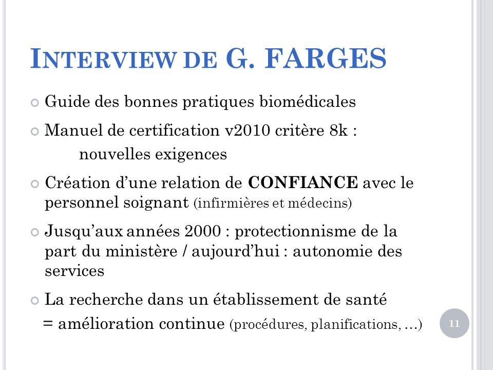 Interview de G. FARGES Guide des bonnes pratiques biomédicales