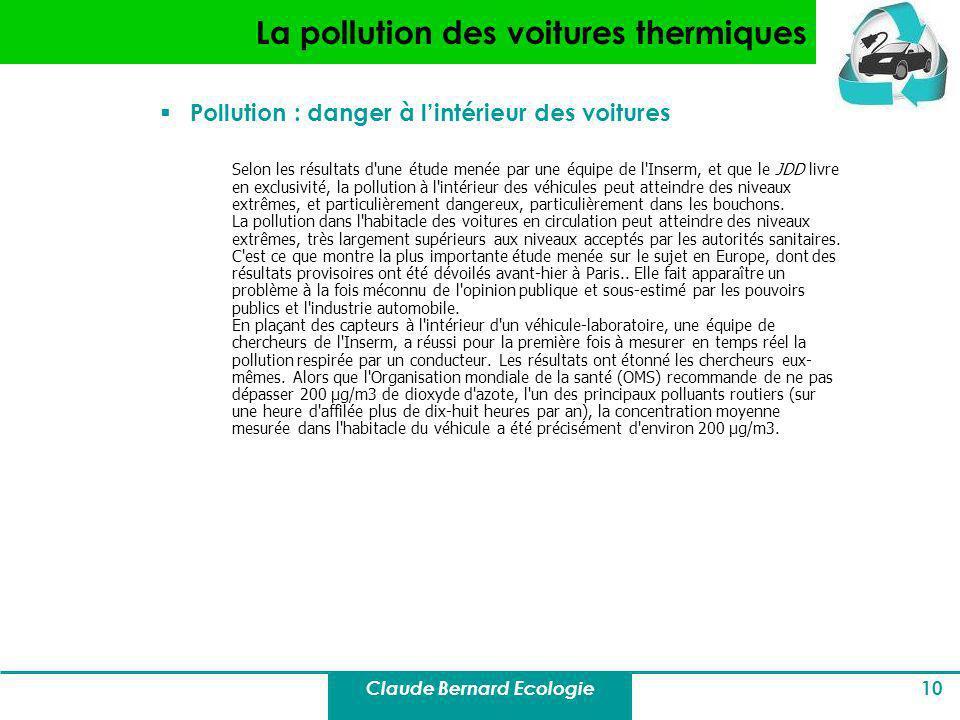La pollution des voitures thermiques