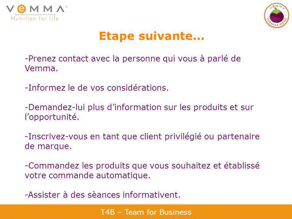Etape suivante... -Prenez contact avec la personne qui vous à parlé de Vemma. -Informez le de vos considérations.