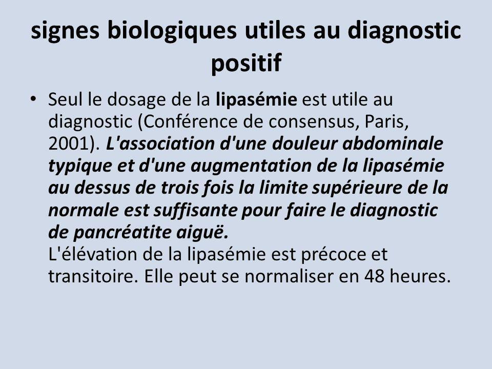 signes biologiques utiles au diagnostic positif