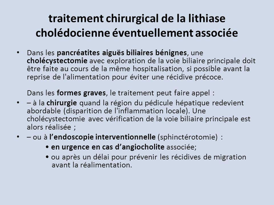 traitement chirurgical de la lithiase cholédocienne éventuellement associée