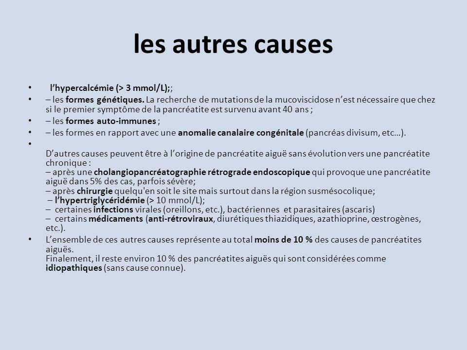 les autres causes l'hypercalcémie (> 3 mmol/L);;