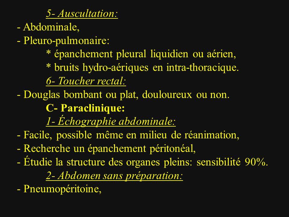5- Auscultation: - Abdominale, - Pleuro-pulmonaire: * épanchement pleural liquidien ou aérien, * bruits hydro-aériques en intra-thoracique.