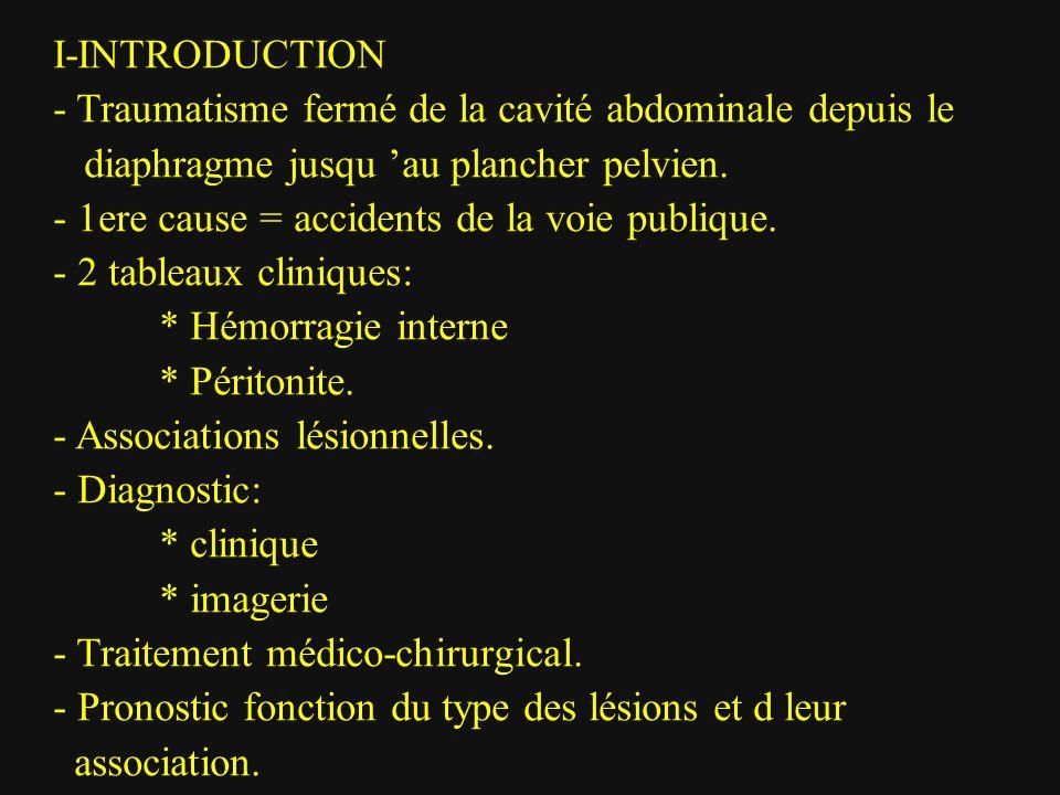 I-INTRODUCTION - Traumatisme fermé de la cavité abdominale depuis le. diaphragme jusqu 'au plancher pelvien.
