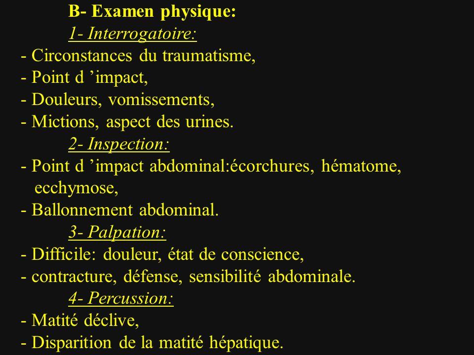 B- Examen physique: 1- Interrogatoire: - Circonstances du traumatisme, - Point d 'impact, - Douleurs, vomissements,