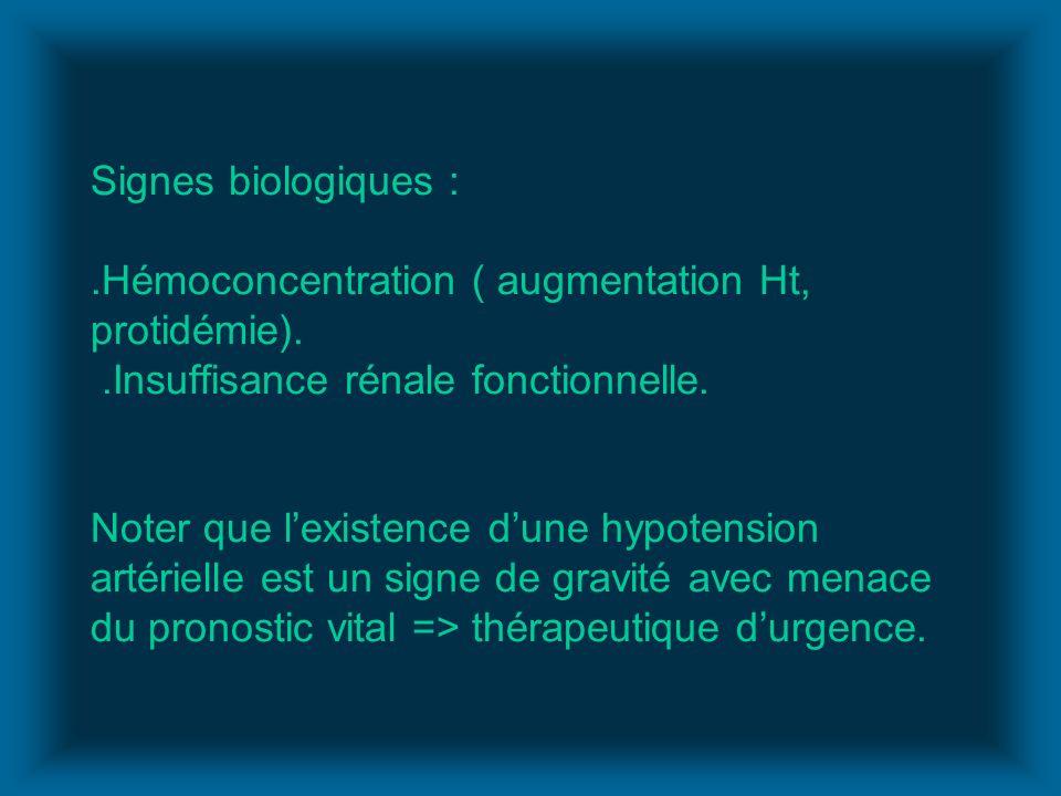Signes biologiques :. Hémoconcentration ( augmentation Ht, protidémie)