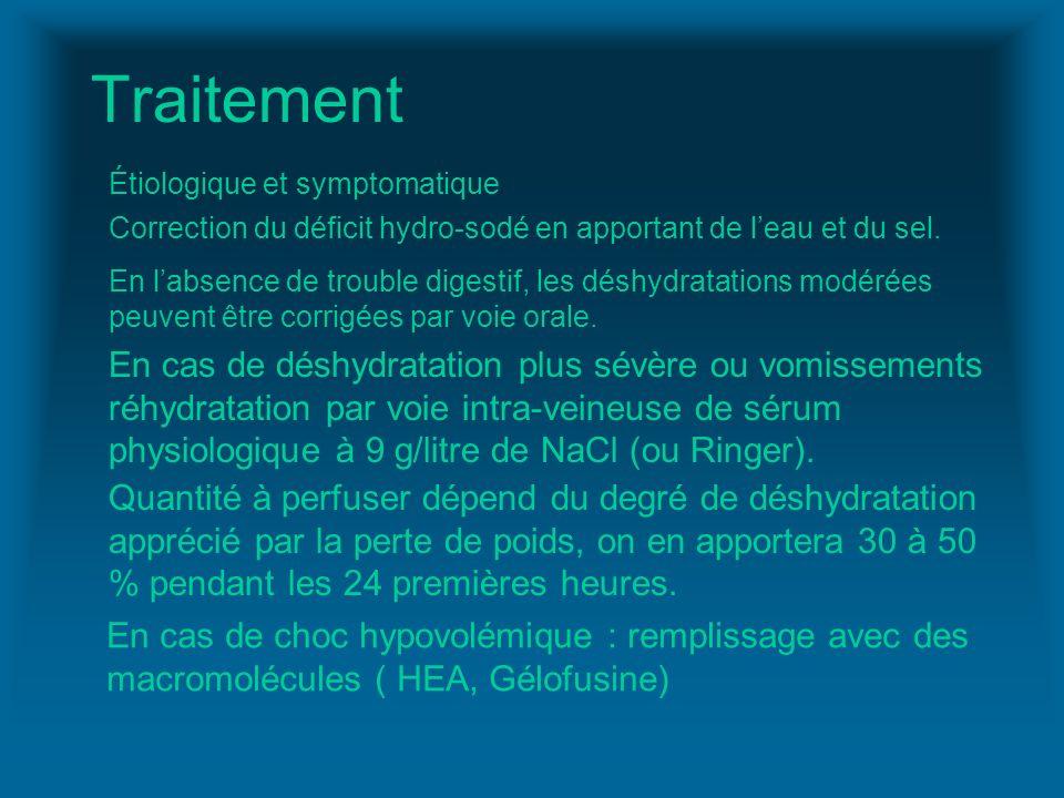 Traitement Étiologique et symptomatique. Correction du déficit hydro-sodé en apportant de l'eau et du sel.