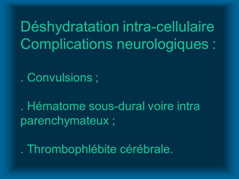 Déshydratation intra-cellulaire Complications neurologiques :
