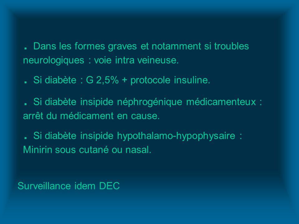 . Dans les formes graves et notamment si troubles neurologiques : voie intra veineuse. . Si diabète : G 2,5% + protocole insuline. . Si diabète insipide néphrogénique médicamenteux : arrêt du médicament en cause. . Si diabète insipide hypothalamo-hypophysaire : Minirin sous cutané ou nasal.