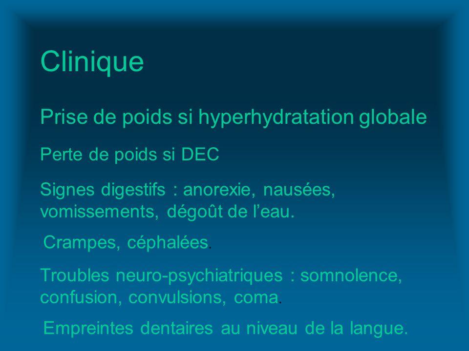 Clinique Prise de poids si hyperhydratation globale