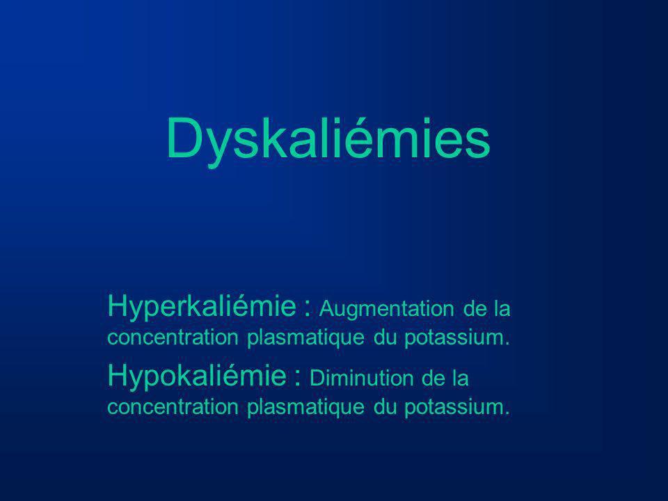 Dyskaliémies Hyperkaliémie : Augmentation de la concentration plasmatique du potassium.