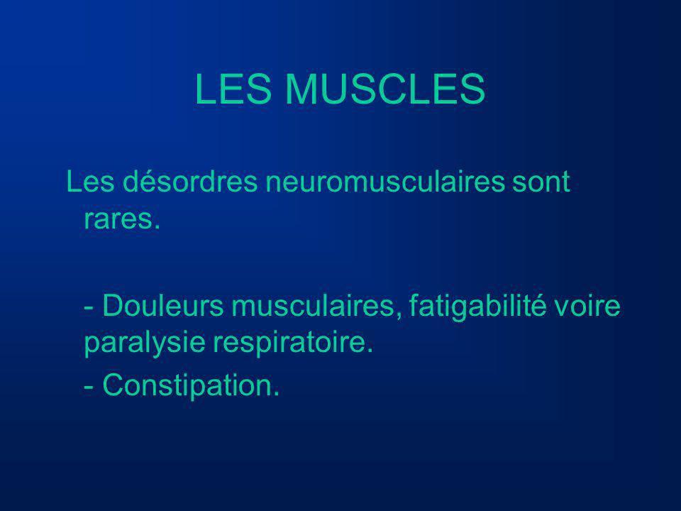 LES MUSCLES Les désordres neuromusculaires sont rares.