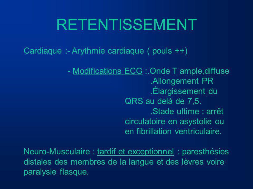 RETENTISSEMENT Cardiaque :- Arythmie cardiaque ( pouls ++)