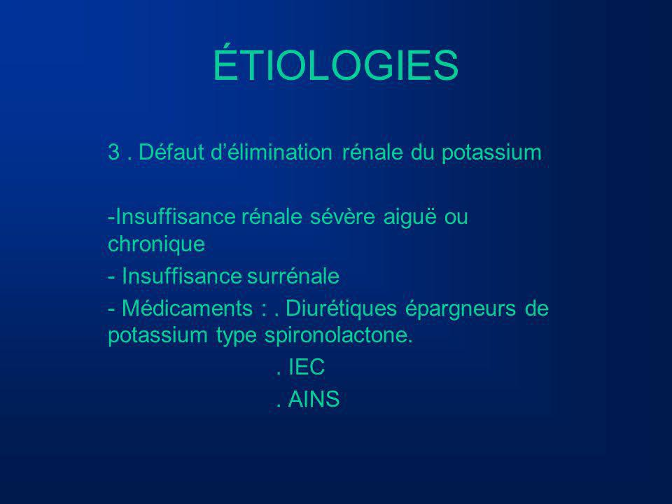 ÉTIOLOGIES 3 . Défaut d'élimination rénale du potassium