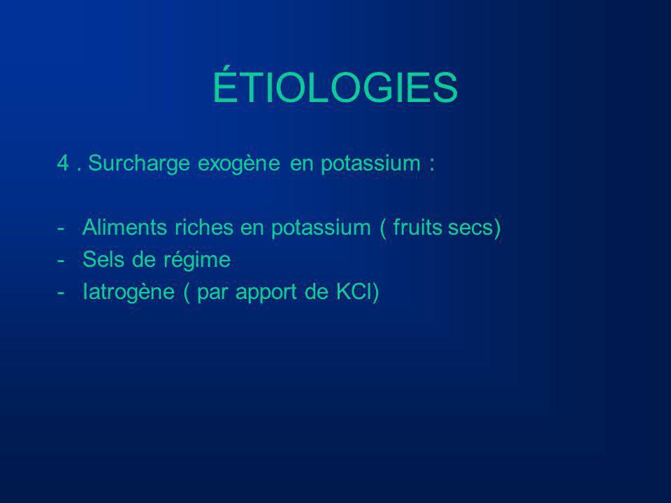 ÉTIOLOGIES 4 . Surcharge exogène en potassium :